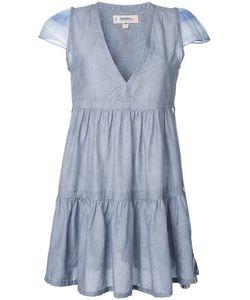 Lemlem   Pleated Trim V Neck Dress Size Medium Silk/Cotton