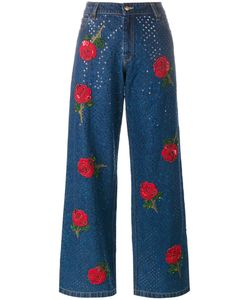 Ashish | Rose Embroide Sequin Jeans Size Large Cotton