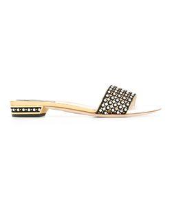 Rene Caovilla | René Caovillatone Detailing Flat Sandals Womens Size 36.5 Suede/Leather/Plastic