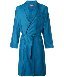 Otis Batterbee | Petrol Herringbone Dressing Gown Mens Size Xl Cotton