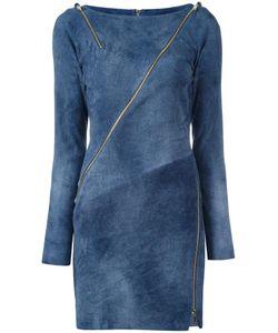 Jitrois | Zip Detail Bodycon Dress Womens Size 38 Leather/Cotton/Spandex/Elastane