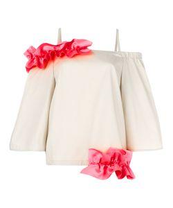 Paskal | Ruffle Detail Top Womens Size Small Polyester/Cotton/Spandex/Elastane