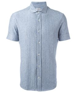 Brunello Cucinelli   Striped Shirt Mens Size Large Linen/Flax/Spandex/Elastane