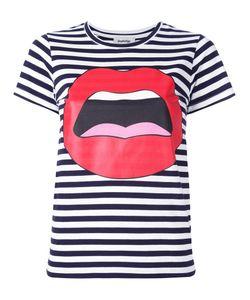 Yazbukey | Mouth Print Striped T-Shirt Womens Size Medium Cotton