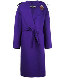 Rochas | Board Lapel Belted Coat Womens Size 42 Silk/Polyamide