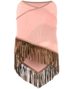 Antonia Zander | Fringed Trim Cape Womens Cashmere/Leather