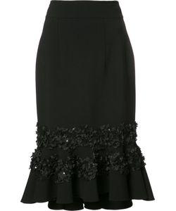 Carolina Herrera   Embroidery Ruffled Skirt Womens Size 6 Virgin
