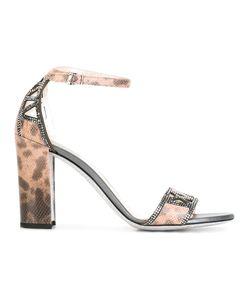 Rene Caovilla | René Caovilla Leopard Print Sandals Womens Size 36 Leather/Pvc