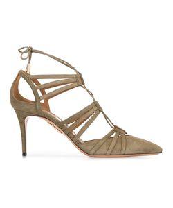 Aquazzura   Lace-Up Sandals Womens Size 39 Suede/Leather