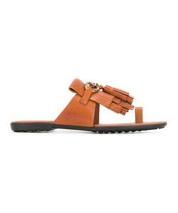 Tod's | Fringe Flip Flops Womens Size 37 Leather/Rubber
