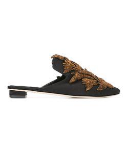 SANAYI 313 | Pointed Toe Embellished Slippers Womens Size 40 Cotton/Raffia/Leather