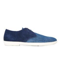 Santoni | Denim Boat Shoes Mens Size 7 Cotton/Calf Suede/Leather/Rubber