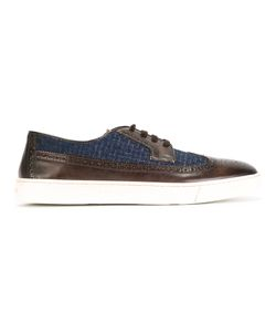 Santoni | Contrast Tweed-Insert Brogues Mens Size 43.5 Leather/Rubber