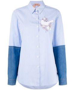 No21   Appliqué Denim Sleeve Shirt Womens Size 44 Cotton