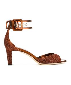 Jimmy Choo | Moscow 65 Sandals Womens Size 37.5 Leather/Lurex/Pvc
