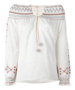 Vilshenko | Embroidery Off-Shoulder Blouse Womens Size 14 Cotton