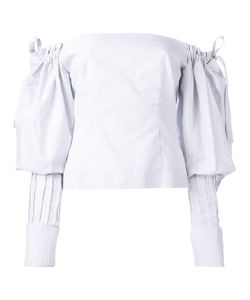 Jacquemus   Pinstripe Off The Shoulder Top Womens Size 36 Cotton