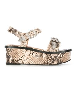 Toga | Embossed Platform Sandals Womens Size 38 Calf Leather/Leather/Metal Other/Rubber