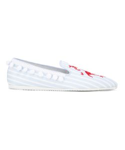 Joshua Sanders   Lobster Embroide Slip-On Loafers Womens Size 35 Canvas/Leather/Rubber