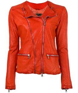 Giorgio Brato   Zip Up Jacket Womens Size 40 Leather/Cotton/Nylon