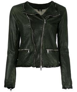 Giorgio Brato   Zip Up Jacket Womens Size 46 Leather/Nylon/Cotton