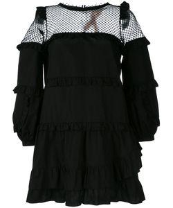 No21   Sheer Ruffled Shift Dress Womens Size 42 Cotton/Polyester