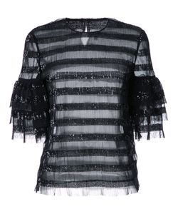 Huishan Zhang | Sequined Striped Blouse Womens Size 12 Polyester