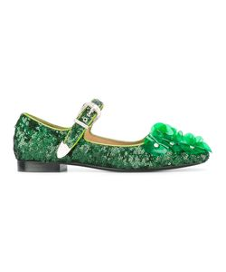 Toga | Sequined Ballerina Shoes Womens Size 37 Calf Leather/Vinyl/Sequin/Leather