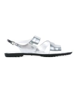 Tod's | Buckled Sandals Womens Size 40 Calf Leather/Patent Leather/Rubber