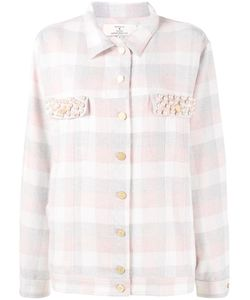 Natasha Zinko   Pearl Embellished Check Shirt Womens Size 38 Polyester/Polyacrylic/Other