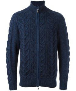 N.Peal | Zip Through Cable Cardigan Mens Size Large Cashmere