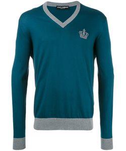 Dolce & Gabbana   Crown Logo V-Neck Jumper Mens Size 54