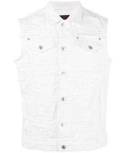 DSquared² | Distressed Sleeveless Denim Jacket Mens Size 48 Cotton/Elastodiene