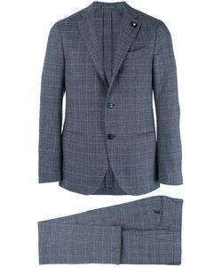 Lardini | Two-Piece Check Suit Mens Size 46 Cotton/Wool/Polyester/Viscose