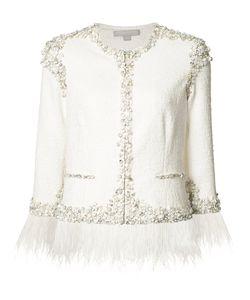 Jonathan Simkhai | Embellished Feather-Trim Jacket Womens Size 6 Silk/Spandex/Elastane/Cotton/Polyamide
