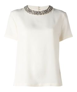 Max Mara | Stoned Collar Top Womens Size 46 Silk