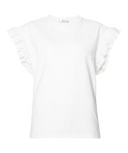 Julien David | Ruffled Sleeves T-Shirt Womens Size Medium Cotton