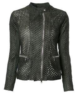 Giorgio Brato   Perforated Detail Jacket Womens Size 46 Leather