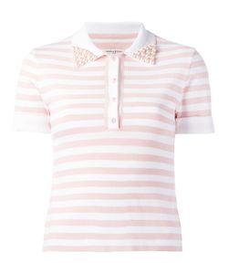 Natasha Zinko   Embellished Collar Polo Shirt Womens Size Small Ceramic/Polyester/Viscose