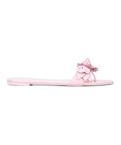 Sophia Webster | Flower Applique Sandals Womens Size 38.5 Calf Leather/Leather/Rubber