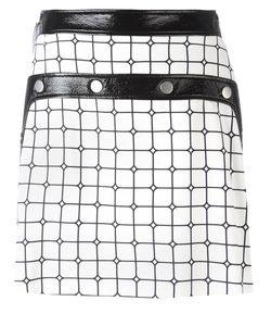 Courrèges | Plaid A-Line Skirt Womens Size 36 Cupro/Viscose/Cotton/Polyurethane