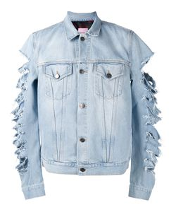 Palm Angels | Cut-Out Sleeves Denim Jacket Mens Size Large Cotton/Polyester