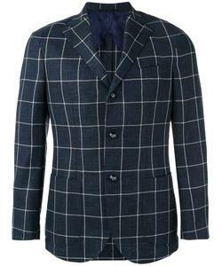 Barba | Checked Blazer Mens Size 54 Silk/Virgin Wool/Linen/Flax