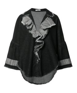 Tome | Denim Ruffled Jacket Womens Size Small Cotton