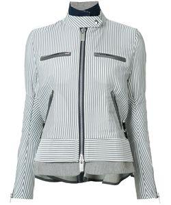 Sacai | Striped Military Jacket Womens Size 3 Polyester/Nylon/Cotton/Wool