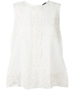 Twin-Set | Lace Detail Top Womens Size Medium Viscose/Cotton/Polyester