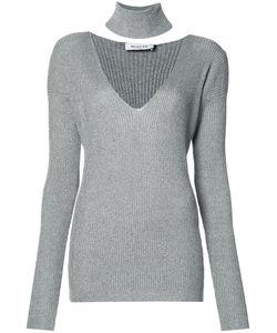 Mugler | Ribbed V-Neck Jumper Womens Size Large Viscose/Cotton/Polyester