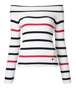 Loveless | Off Shoulder Striped Jumper Womens Size 34 Cotton/Nylon/Rayon