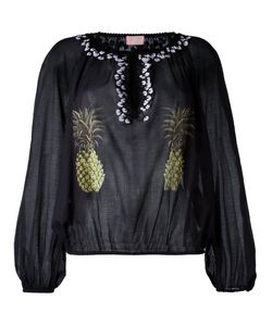 Giamba | Collarless Pineapple Print Blouse Womens Size 42 Cotton