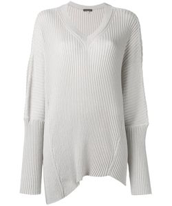 Ann Demeulemeester | Rib Knit V-Neck Sweater Womens Size Small Cotton/Cashmere